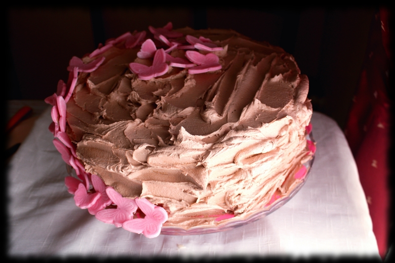Tarta de chocolate y mariposas rosas
