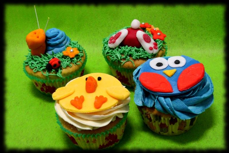 Cupcakes caracol, conejito, pollito y buho