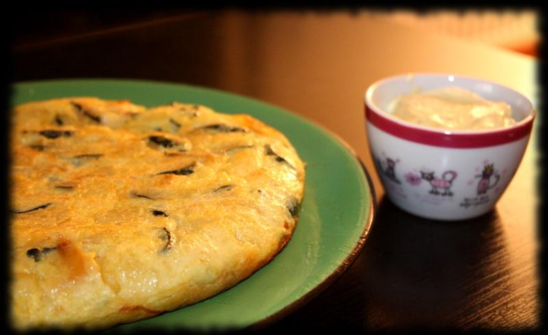 Tortilla de patata y calabacín de la huerta