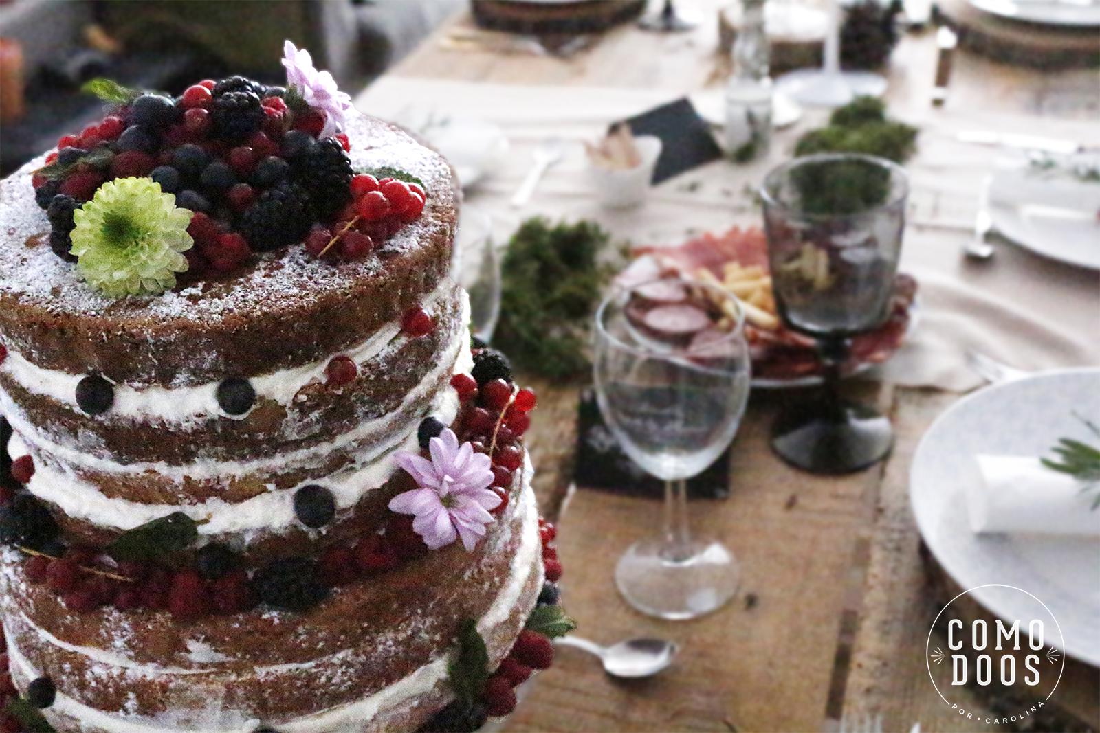 Naked cake de frutos rojos